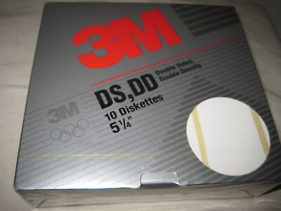 "3M 5-1/4"" 10 Pack Floppy Diskettes DS DD Disks Unformatted New Factory Sealed"