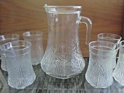 LASISEPAT MANSALA Finland Scandinavian art glass 7pc DRINKS SET Jug & 6 glasses