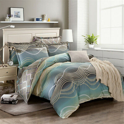 Cotton Striped Quilt Doona Duvet Covers Set Queen Size Bed With Pillow Cases New