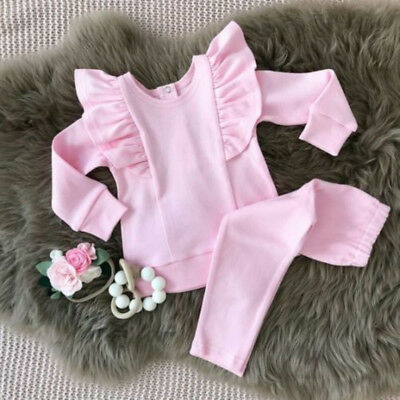 UK Toddler Kids Baby Girls 100% Cotton Tops T-shirt Long Pants Outfits Clothes