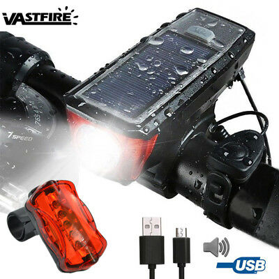 USB Rechargeable LED Bicycle Bike Solar Powered Front Headlight Rear Tail Light