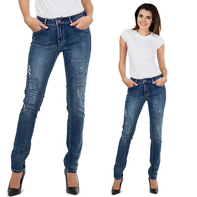 New Ladies Womens Blue Ripped Distressed Frayed Faded Skinny Slim Stretch Jeans