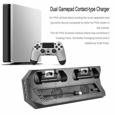 Vertical Stand Cooling Fan Dual Charging Dock Station for PS4 Slim Console LOT H
