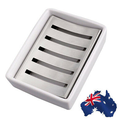 AU! Bathroom Stainless Steel Soap Dish Tray Box Water Draining Soap Stand Holder