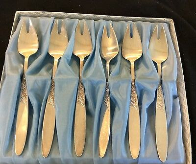 Grovenor 'christine' Buffet Forks X 6 Silver Plate In Original Box Vg To Ex