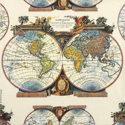 4x Paper Napkins for Decoupage Craft and Party - Tassotti: Mondo Map