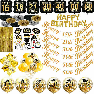 Gold Happy Birthday Bunting Banner Balloons 18/21st/30/40/50/60th Birthday Party
