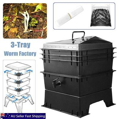3-Tray Worm Factory Farm Compost Bin Set Vermicomposting Gardening Soil Box