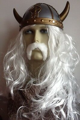 The Old Viking. Long White Wavy Fancy Dress Wig & Droop Moustache. Hat Not Incl>