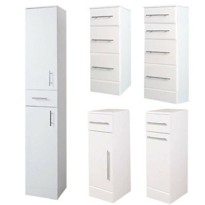 High Gloss Floor Standing White Wooden Drawers Shelves Storage Bathroom Cabinets