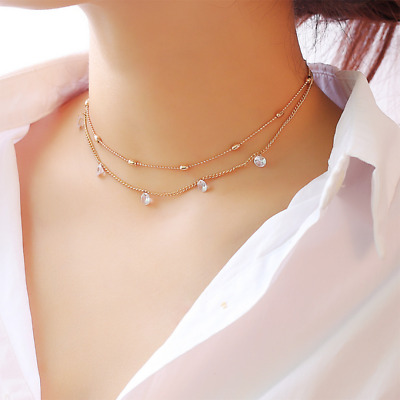 Silver Gold Plated 2 Double Layer Beaded Chain Choker Necklace Pendant UK