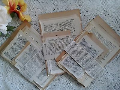 Vintage antique paper pages from old dictionaries English French German Spanish
