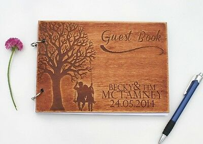Guest Book Laser Engraved Personalised Wedding 3mm Plywood Rustic Wood A5