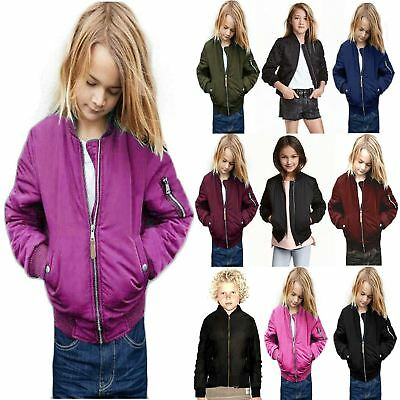 Kids Girls Boys Plain Quilted MA1 Button Front Pockets Bomber Zipped Up Jacket