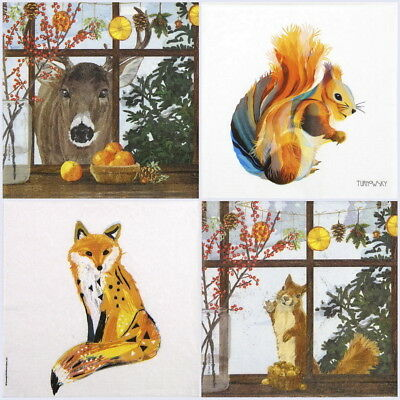 4x Paper Napkins for Decoupage Craft and Party - Squirrel, Fox, Deer Friends mix
