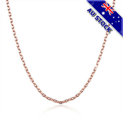 Classic 18K Rose Gold Filled 1.5mm Link Necklace Anchor Chain Gift