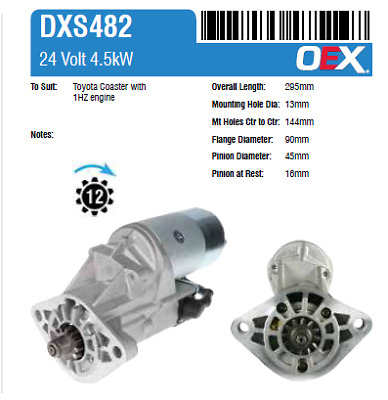 Dxs482 Oex Starter Motor Suit Toyota Coaster 93 On