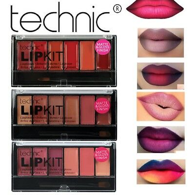 Technic Lip Kit Matte & Gloss Lipstick Set Palettes & Brush Pink Nude Red Plum