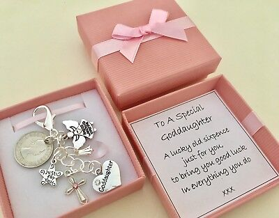 Goddaughter Gift, Lucky Sixpence , Christening Gift In A Lovely Gift Box