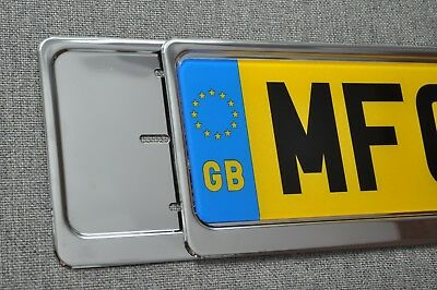 2 x Chrome Stainless Steel Car Number Plate Surrounds Registration Plate Holder