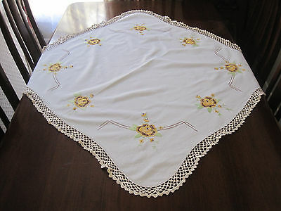 Vintage Hand Embroidered Yellow Roses Pure Linen Tablecloth