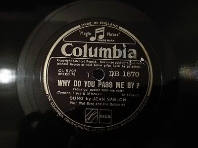 78obrotów Sablon - Why Do You Pass Me By? / La Chanson Des Rues Columbia DB1670