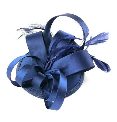 Large Navy Satin Hat Fascinator Clip Feather Ladies Day Races Wedding Ascot 17