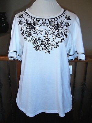 Charter Club Women's Top T-Shirt - Size L - Flared Sleeve Gingham Accent - NWT