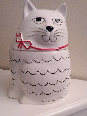Cute White Cat Cookie Jar With Black Wavy Lines And Red Bow