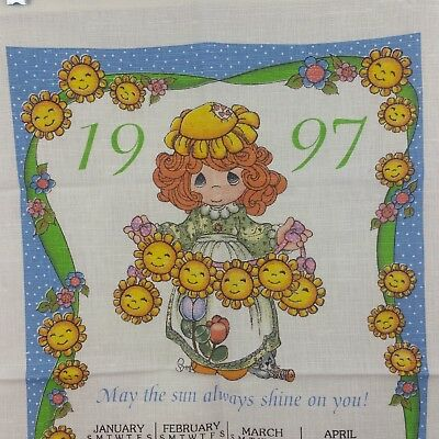 Cloth Kitchen Calendar 1997 Crafting Dowel Slot Flower Faces Girl