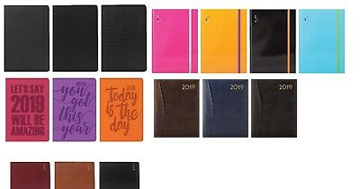 2019 Diary A4/A5 Week to View Casebound Fashion Office Desk Diary Black,Pink x 1