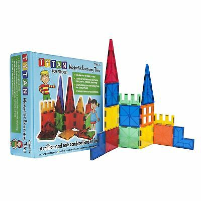 Tytan 100 Pcs Magnetic Learning Tiles Building Set 3D Shapes Kid Play Fun Toy