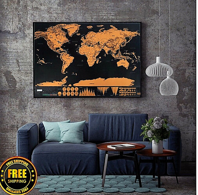 Large Scratch of World Journal Map Personalized Travel Atlas Poster Edition New