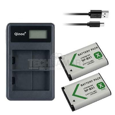Dual USB Charger + 2X Battery NP-BX1 For Sony DSC-WX350 DSC-WX500 FDR-X1000