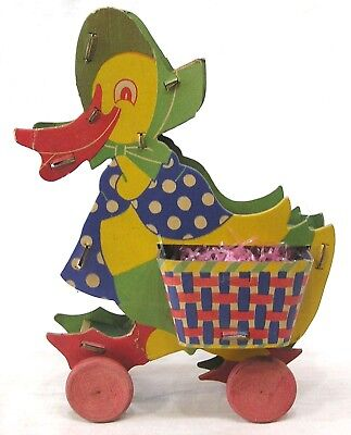 Vintage Easter Stiff Paper Fibro Toy Duck Candy Container on Wheels 1930s 40s