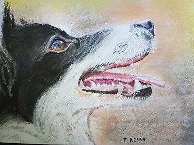 Original Custom Pet Dog Portrait art From Photo A4 Pastel personalised signed