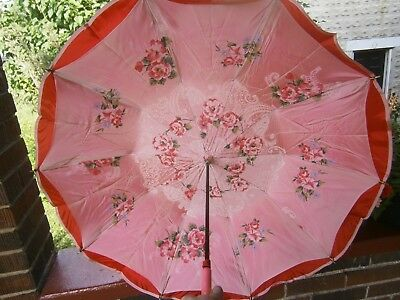 Vintage Roses and Ruffles Pink Red Parasol Umbrella Lucite handle Chic French