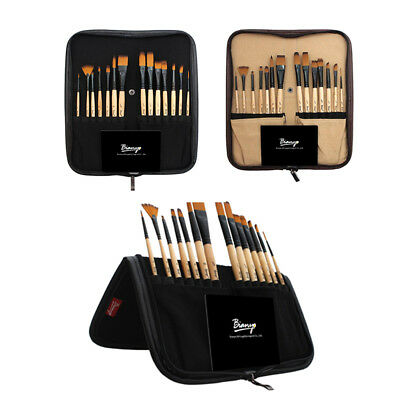 14x Nylon Hair Paint Brush Artist Long Handle Paintbrush Set with Canvas Bag