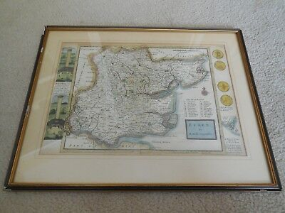Herman Moll 1724 Map of Essex Engraved and Hand Coloured