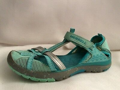 b8acaec31fd5 Merrell Hydro Monarch Water Sport Sandal Blue Girls 2 Wide Youth T Strap  Leather