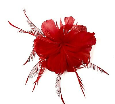 Red Feather Fascinator Hair Clip Ladies Day Races Party Wedding