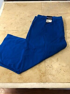 BASIC EDITIONS Royal Blue Capri 22W Classic Fit Stretch Tapered Leg Pants NWT