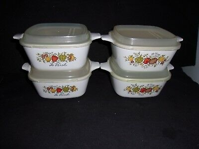 4 Corning Ware SPICE OF LIFE Petite Pans/Dish/Bowls & Lids 1 3/4 Cup  P-41-B