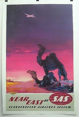 "Vintage 1950s-60s SAS ""NEAR EAST"" Travel POSTER Otto Nielsen Art Linen-Backed"