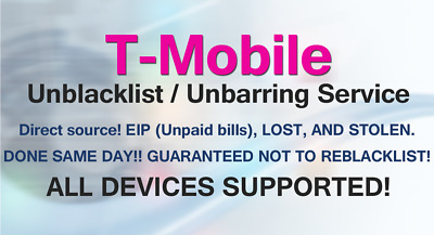 USA T-Mobile CLEANING UNBARRING IMEI REPAIR ESN CLEAN ALL MODELS 1-72 HOURS