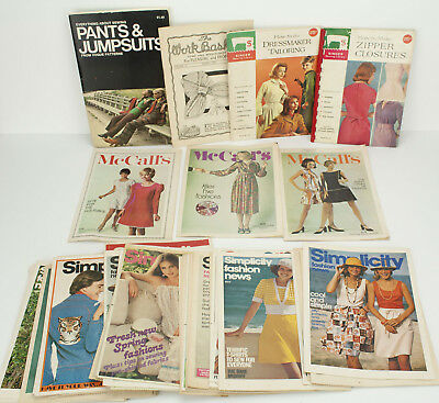 50 Vintage Sewing Books - Simplicity Fashion News, Workbasket, Vogue Pattern +