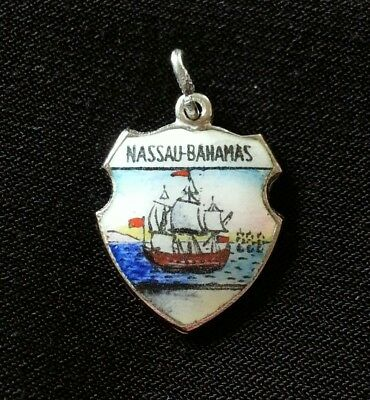 Vintage Sterling Silver and Enamel Nassau Bahamas Travel Shield Charm