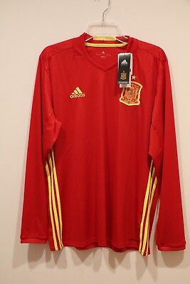 e7703e6ffd1 Spain Home Euro Adidas ClimaCool Red Long Sleeve Jersey- Adult Large