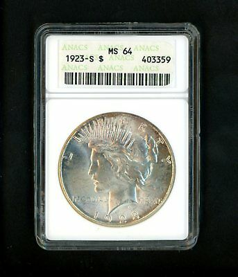 1923-S US Peace Silver Dollar $1.00 $1 ANACS MS64 Uncirculated GEM Golden Toning