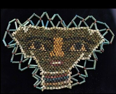 *SC* LARGE ANCIENT EGYPT EGYPTIAN MUMMY BEAD MASK, late period 600 BC!!